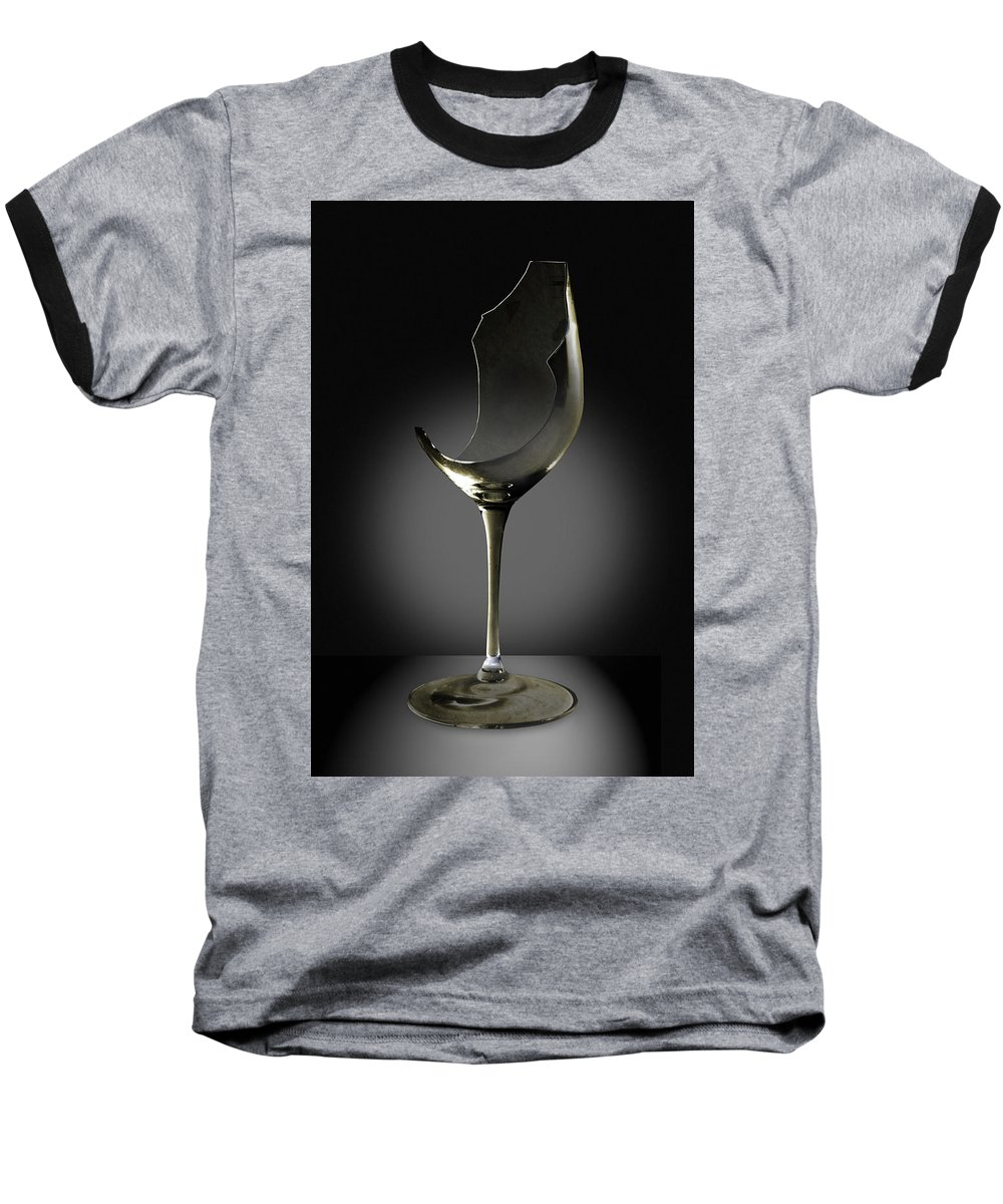 Glassware Baseball T-Shirt featuring the photograph Broken Wine Glass by Yuri Lev