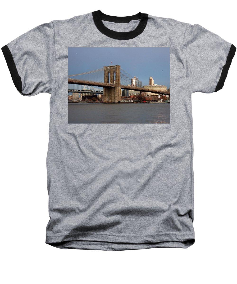 Brooklyn Bridge Baseball T-Shirt featuring the photograph Brooklyn Bridge by Anita Burgermeister