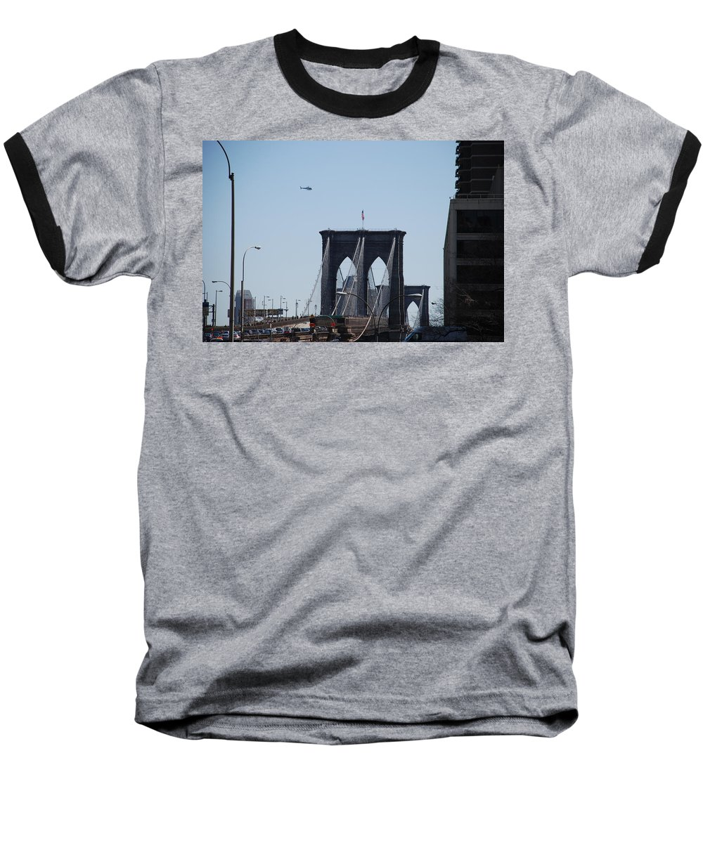 Architecture Baseball T-Shirt featuring the photograph Brooklyn Bridge by Rob Hans