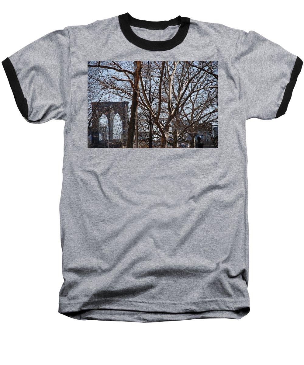 Architecture Baseball T-Shirt featuring the photograph Brooklyn Bridge Thru The Trees by Rob Hans