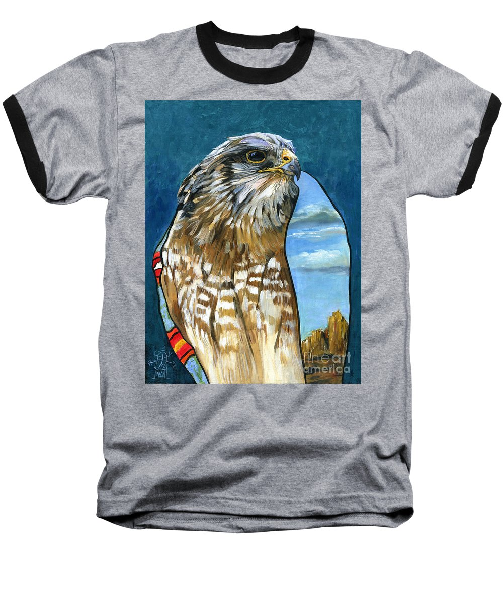 Hawk Baseball T-Shirt featuring the painting Brother Hawk by J W Baker