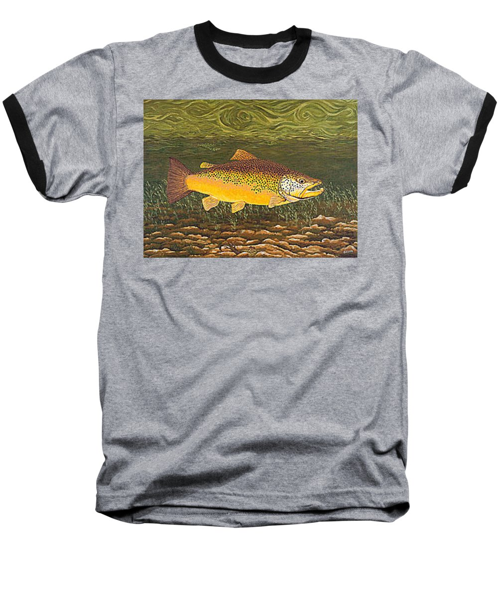 Art Print Prints Canvas Framed Giclee Fine Brown Trout Fish Angler Angling Fishing Fishermen Decor Baseball T-Shirt featuring the painting Brown Trout Fish Art Print Touch Down Brown Trophy Size Football Shape Brown Trout Angler Angling by Baslee Troutman