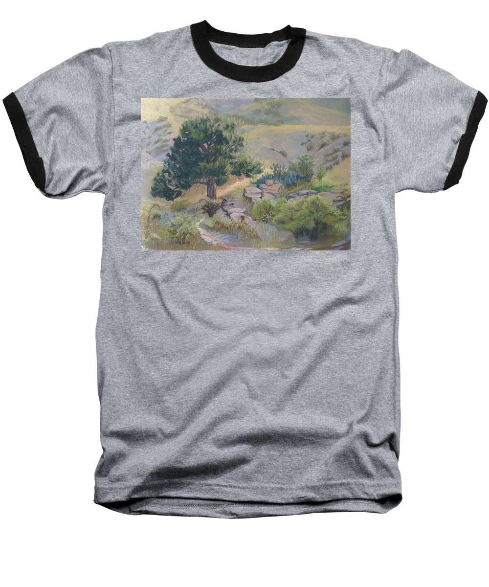 Pine Tree Baseball T-Shirt featuring the painting Buckhorn Canyon by Heather Coen