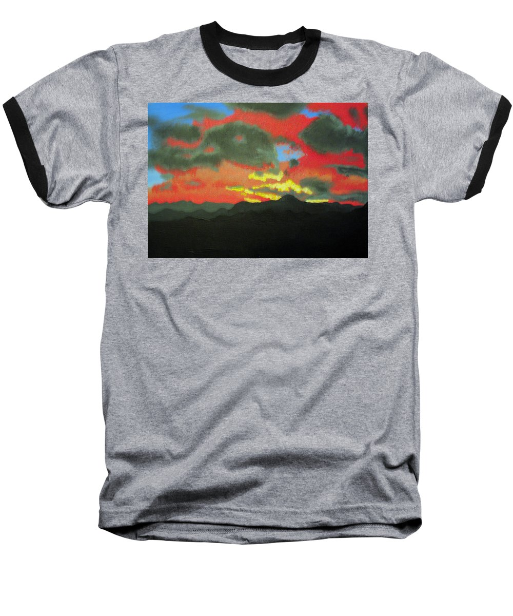 Sunset Baseball T-Shirt featuring the painting Buenas Noches by Marco Morales
