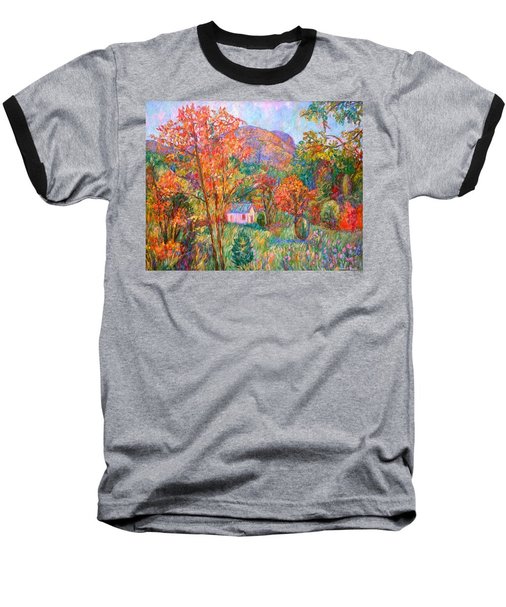Landscape Baseball T-Shirt featuring the painting Buffalo Mountain In Fall by Kendall Kessler