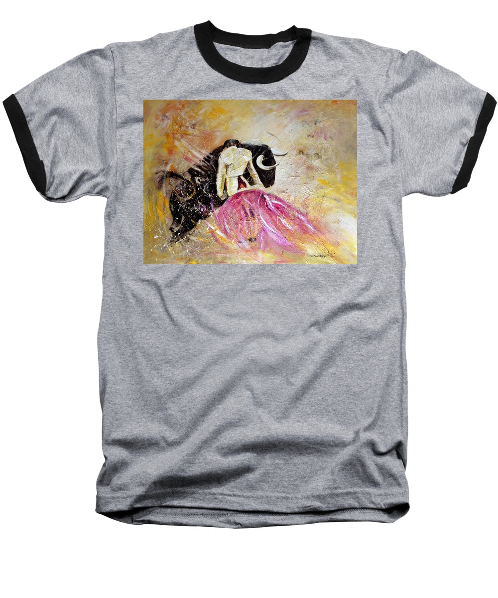 Animals Baseball T-Shirt featuring the painting Bullfight 74 by Miki De Goodaboom