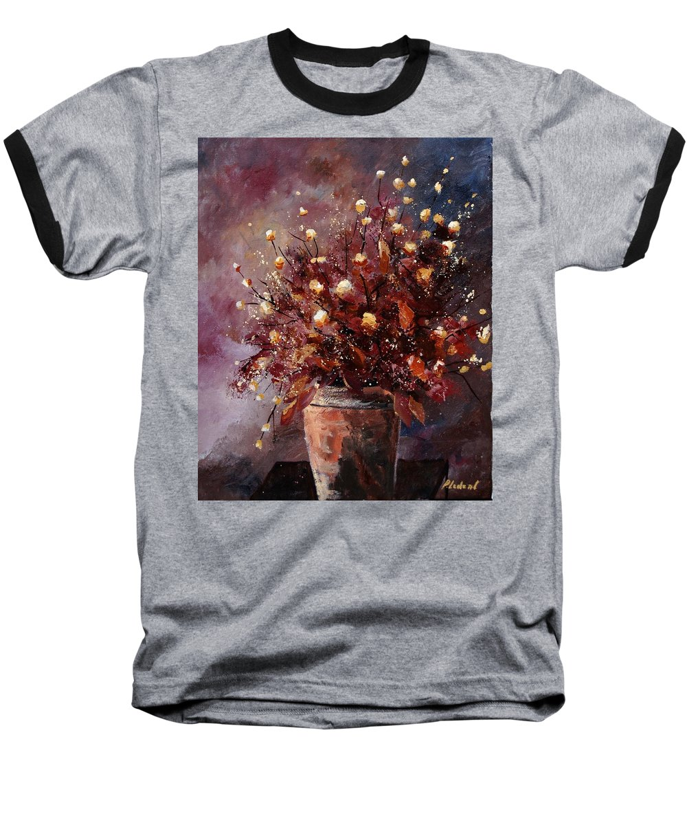 Poppies Baseball T-Shirt featuring the painting Bunch 56 by Pol Ledent