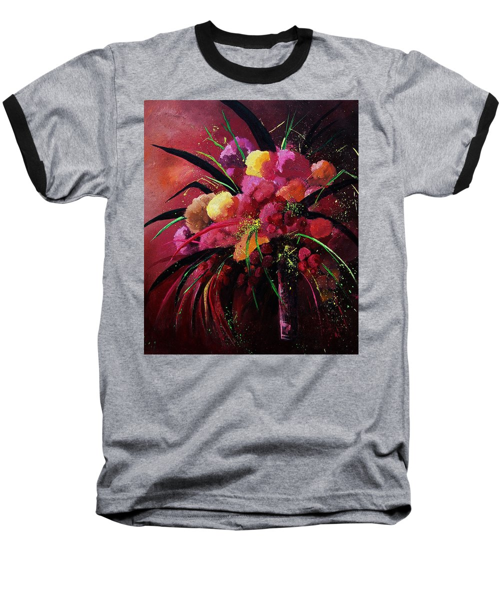 Flowers Baseball T-Shirt featuring the painting Bunch Of Red Flowers by Pol Ledent