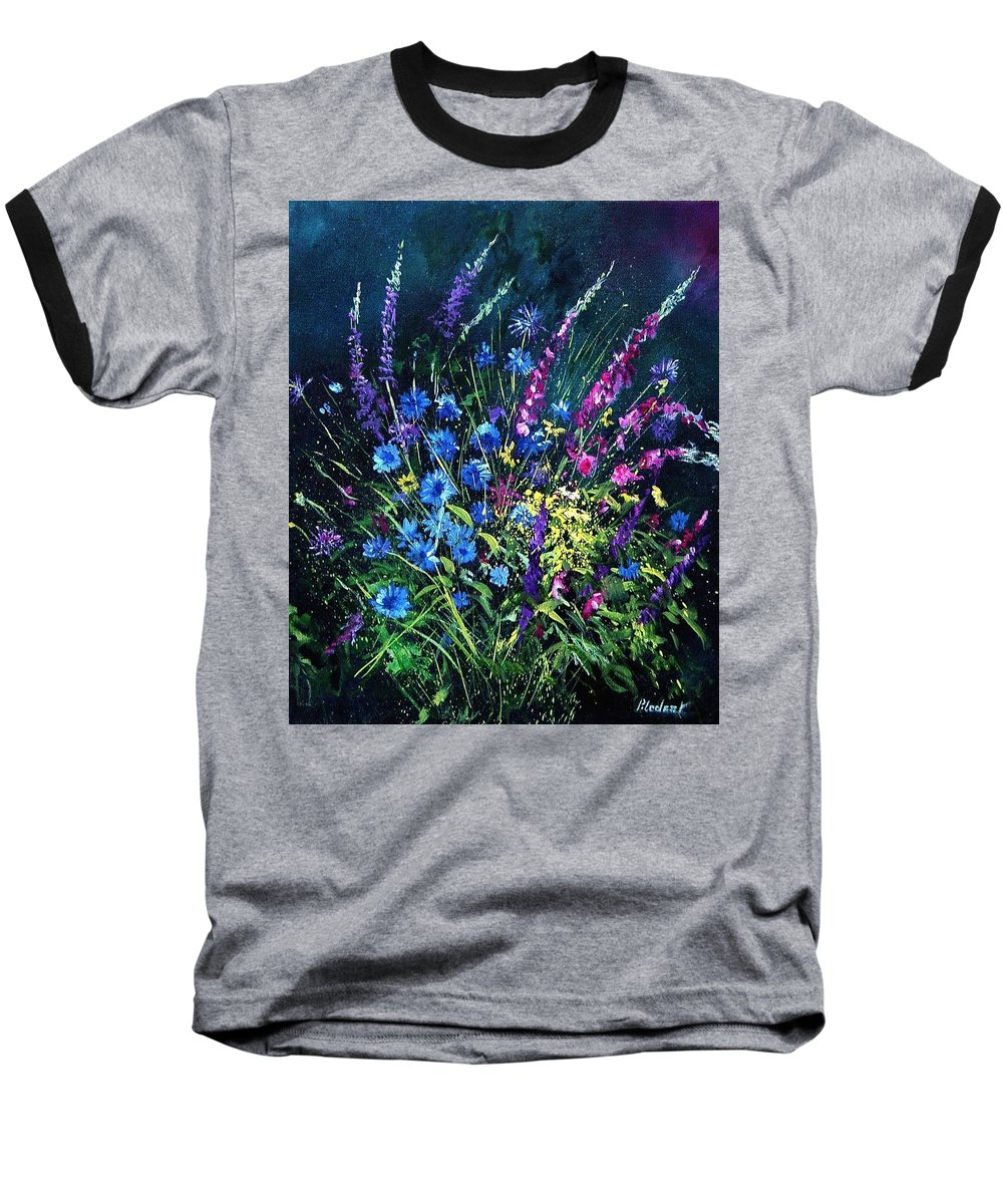 Poppies Baseball T-Shirt featuring the painting Bunch Of Wild Flowers by Pol Ledent
