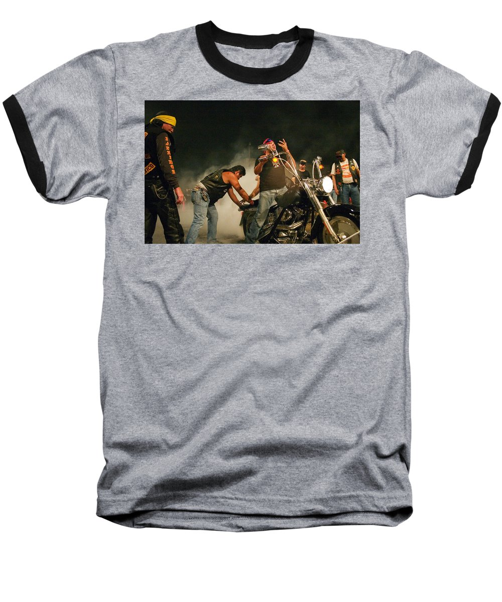 Biker Baseball T-Shirt featuring the photograph Burn Out by Skip Hunt
