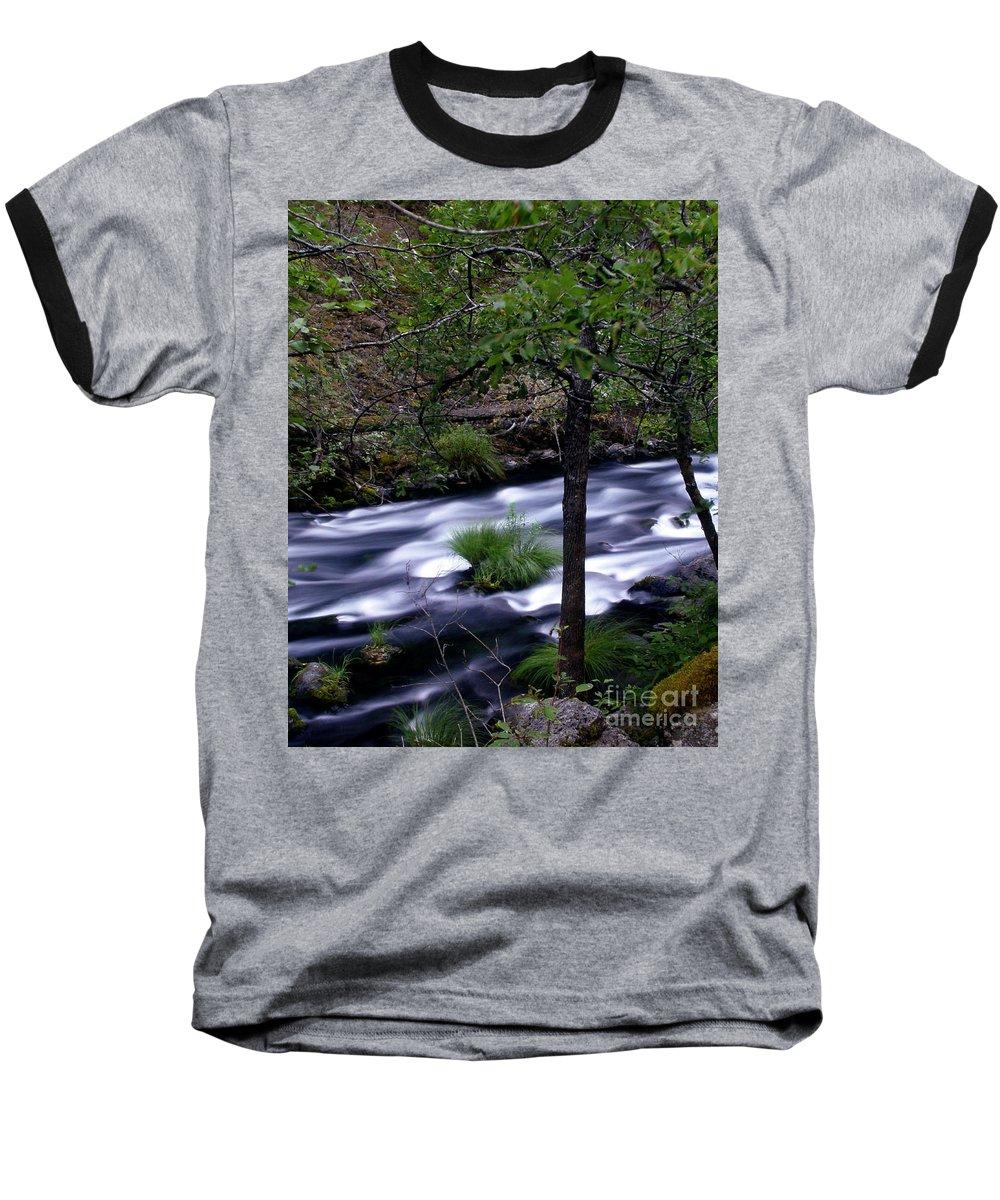 River Baseball T-Shirt featuring the photograph Burney Creek by Peter Piatt