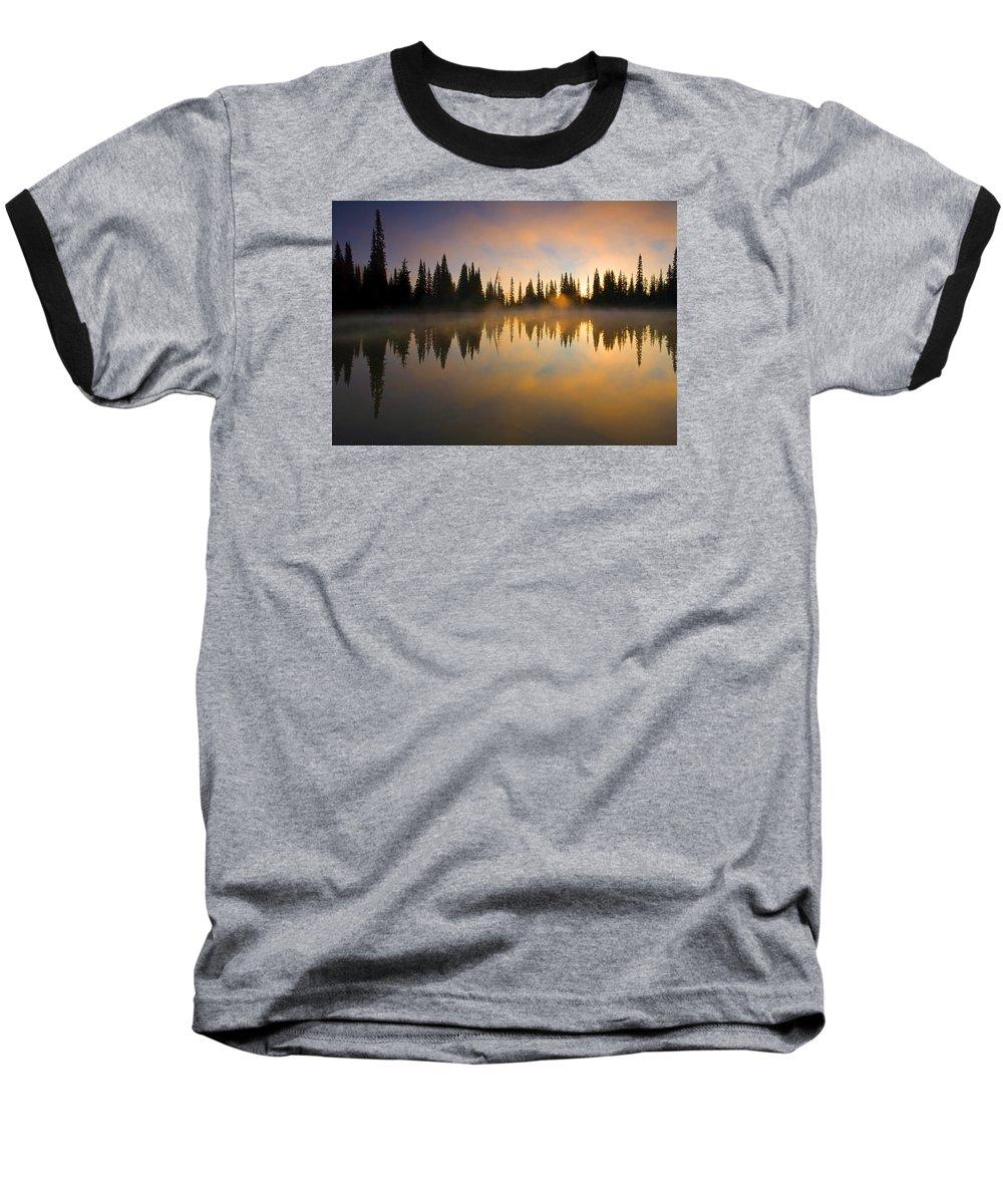 Lake Baseball T-Shirt featuring the photograph Burning Dawn by Mike Dawson