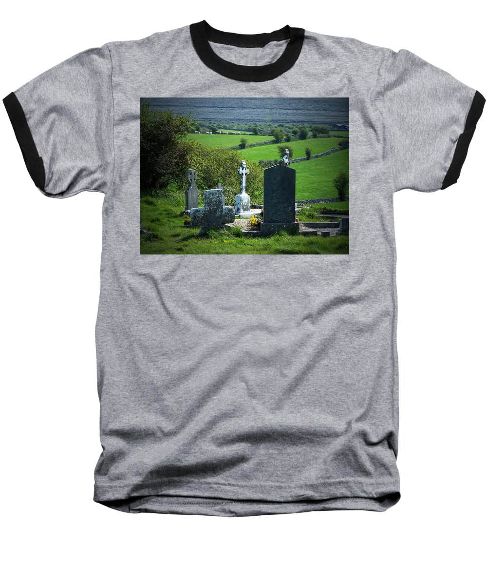 Irish Baseball T-Shirt featuring the photograph Burren Crosses County Clare Ireland by Teresa Mucha