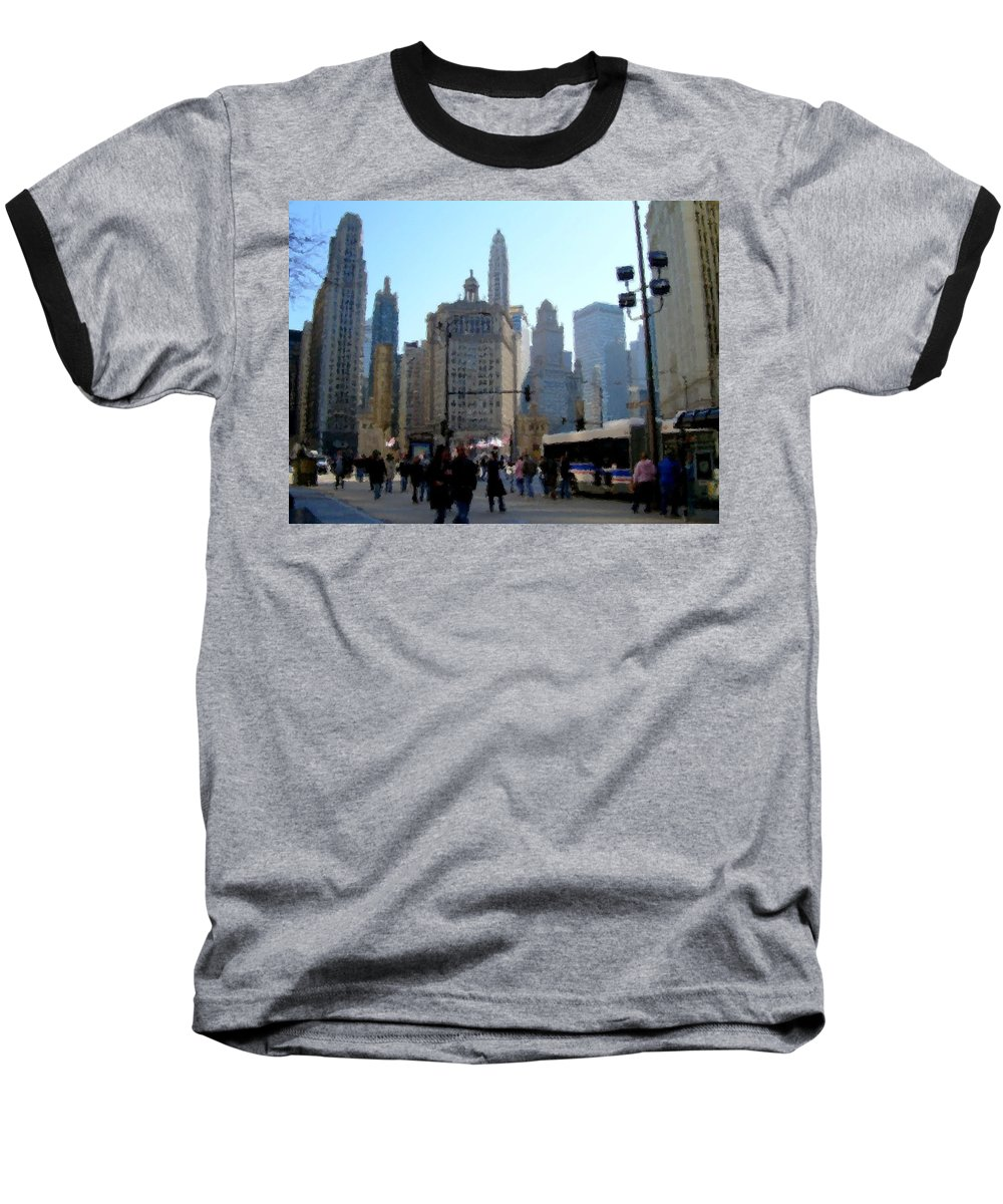 Archtecture Baseball T-Shirt featuring the digital art Bus On Miracle Mile by Anita Burgermeister