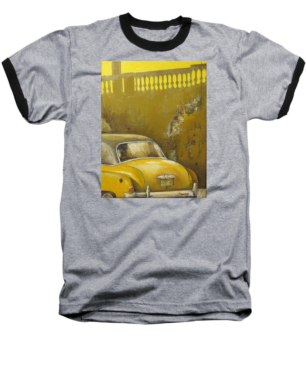 Havana Baseball T-Shirt featuring the painting Buscando La Sombra by Tomas Castano