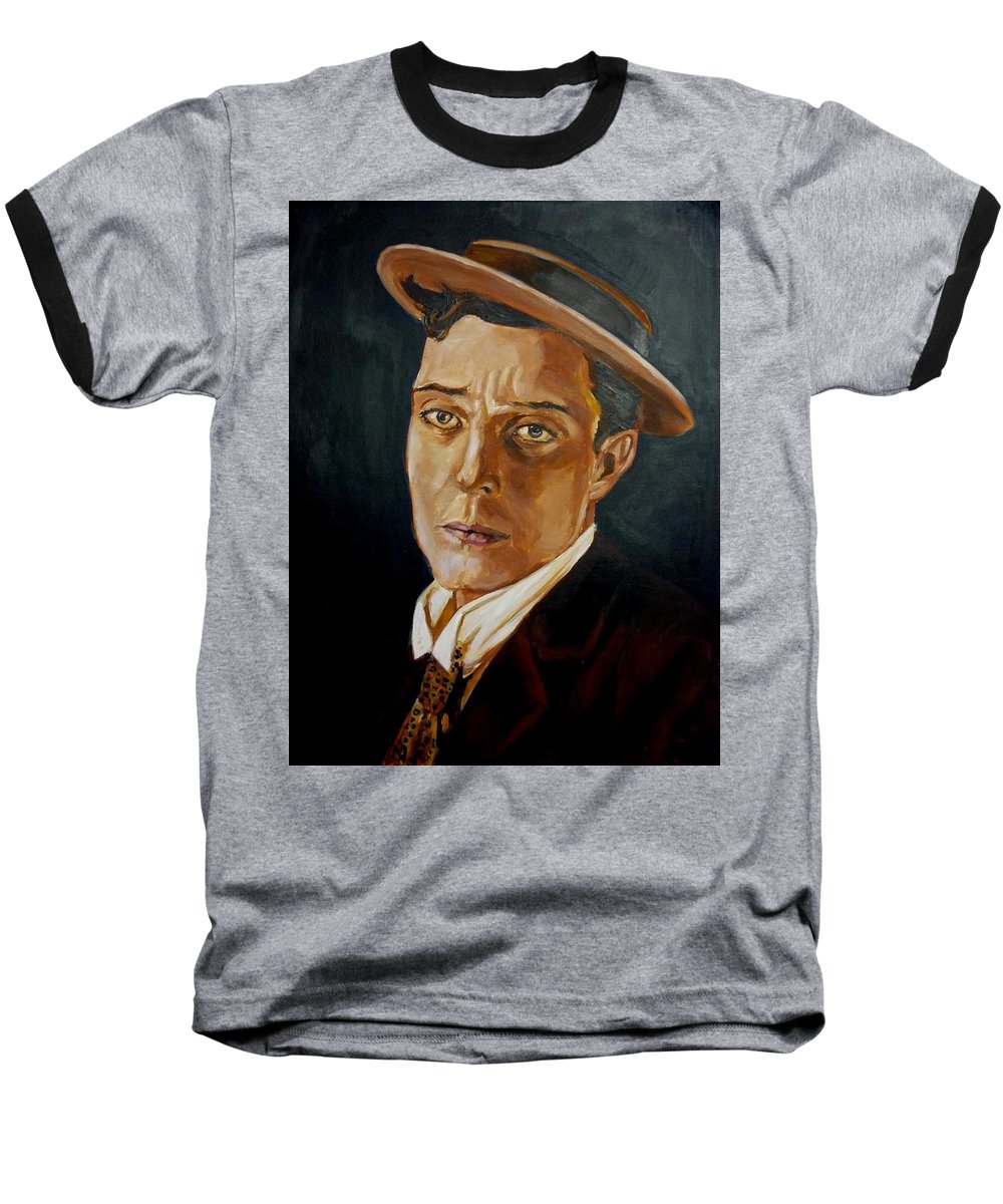 Comedy Baseball T-Shirt featuring the painting Buster Keaton Tribute by Bryan Bustard