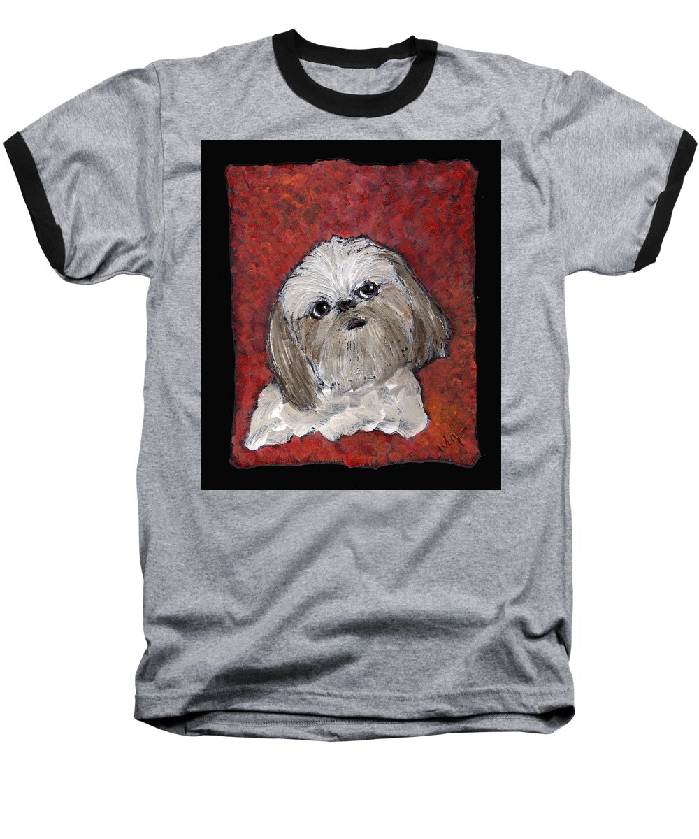 Dog Baseball T-Shirt featuring the painting Buster by Wayne Potrafka