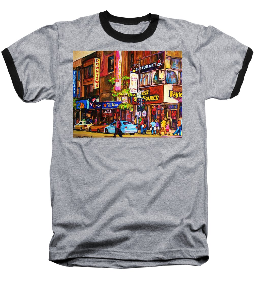 Cityscape Baseball T-Shirt featuring the painting Busy Downtown Street by Carole Spandau