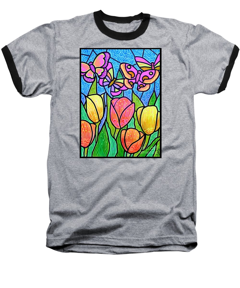 Butterflies Baseball T-Shirt featuring the painting Butterflies In The Tulip Garden by Jim Harris
