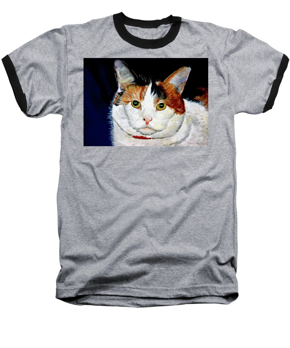 Cat Baseball T-Shirt featuring the painting Buttons by Stan Hamilton