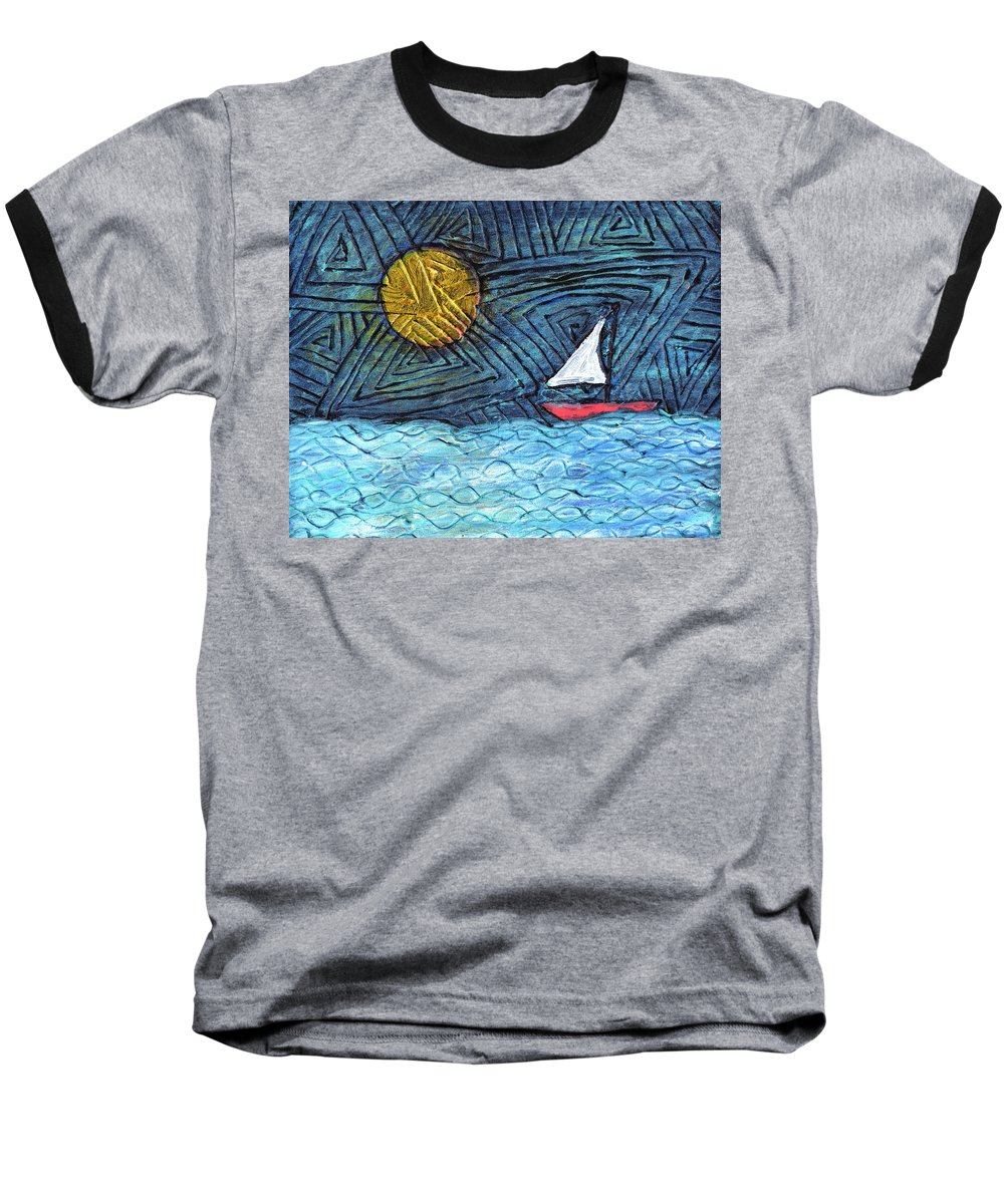 Sail Boat Baseball T-Shirt featuring the painting By The Light Of The Moon by Wayne Potrafka