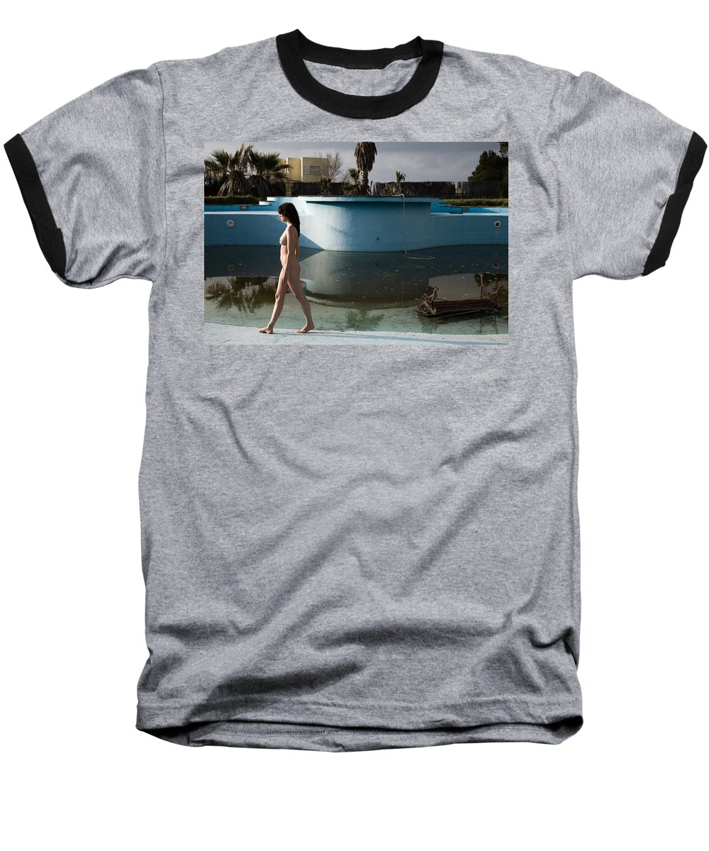 Nudes Baseball T-Shirt featuring the photograph By The Old Pool by Olivier De Rycke