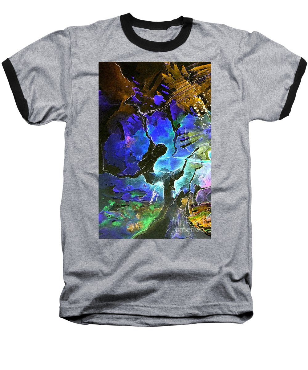 Miki Baseball T-Shirt featuring the painting Bye by Miki De Goodaboom