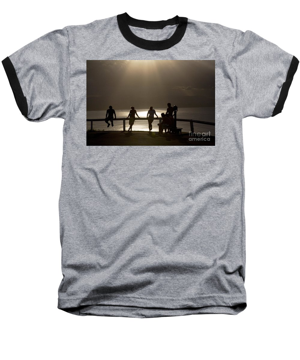 Byron Bay Lighthouse Silhouette Sunset Rays Baseball T-Shirt featuring the photograph Byron Bay Lighthouse by Avalon Fine Art Photography
