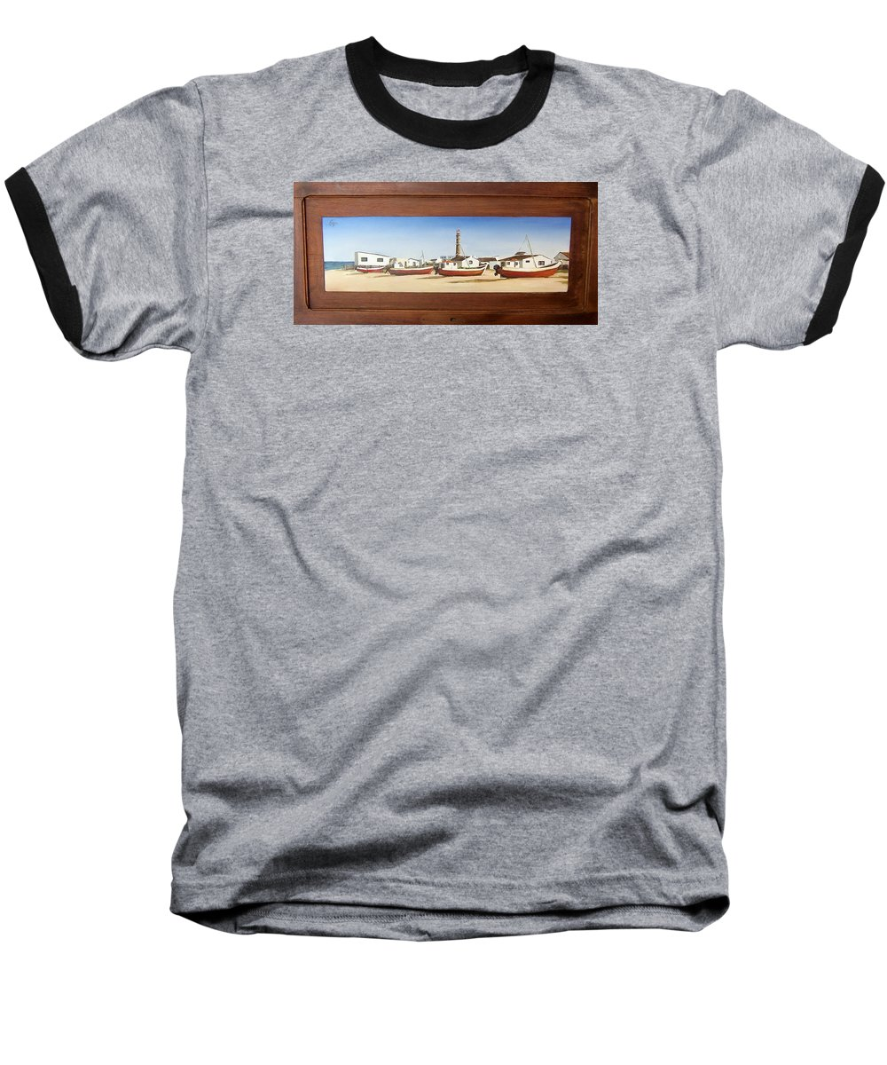 Landscape Seascape Uruguay Beach Boats Sea Lighthouse Baseball T-Shirt featuring the painting Cabo Polonio 2 by Natalia Tejera