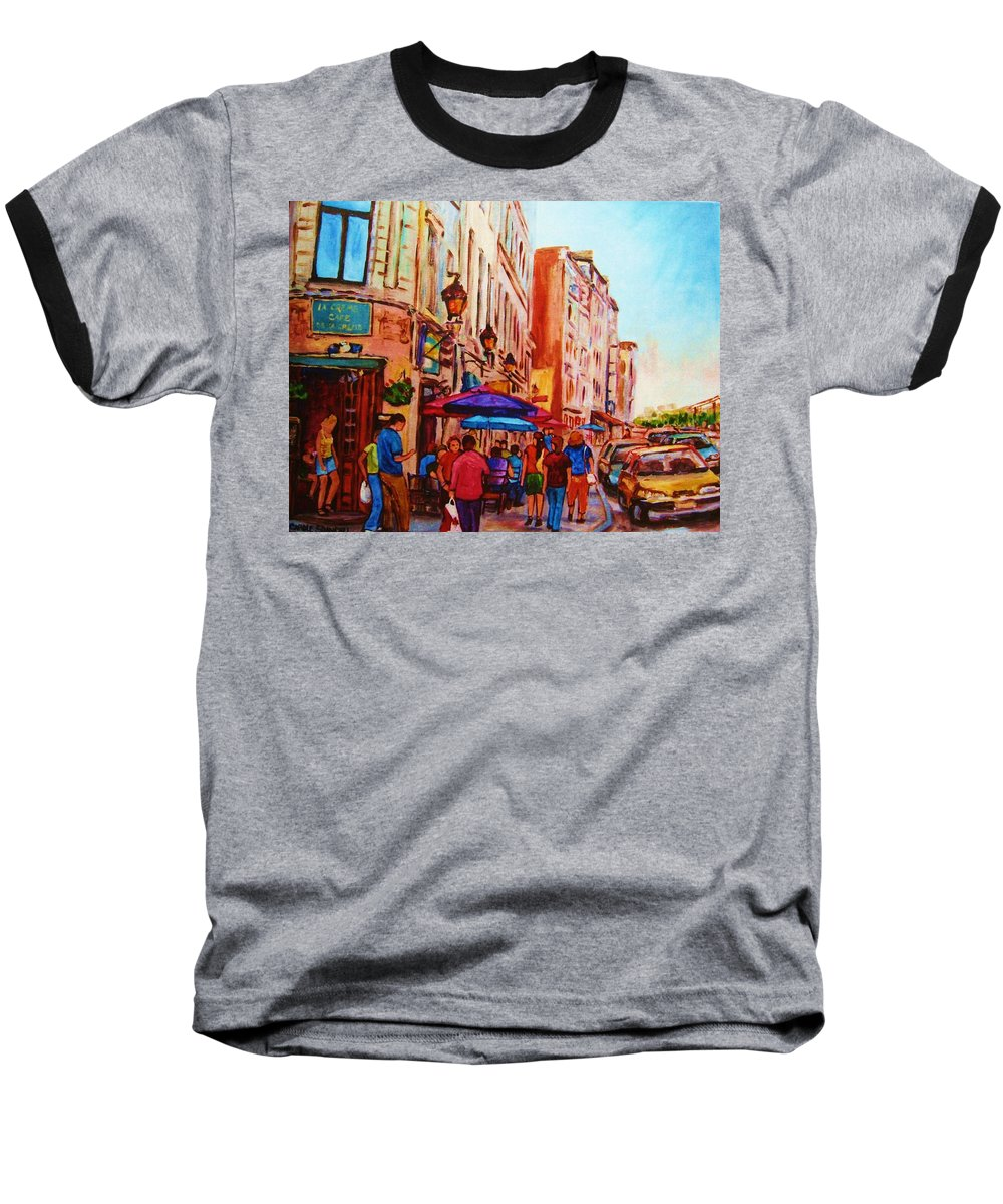 Montreal Baseball T-Shirt featuring the painting Cafe Creme by Carole Spandau