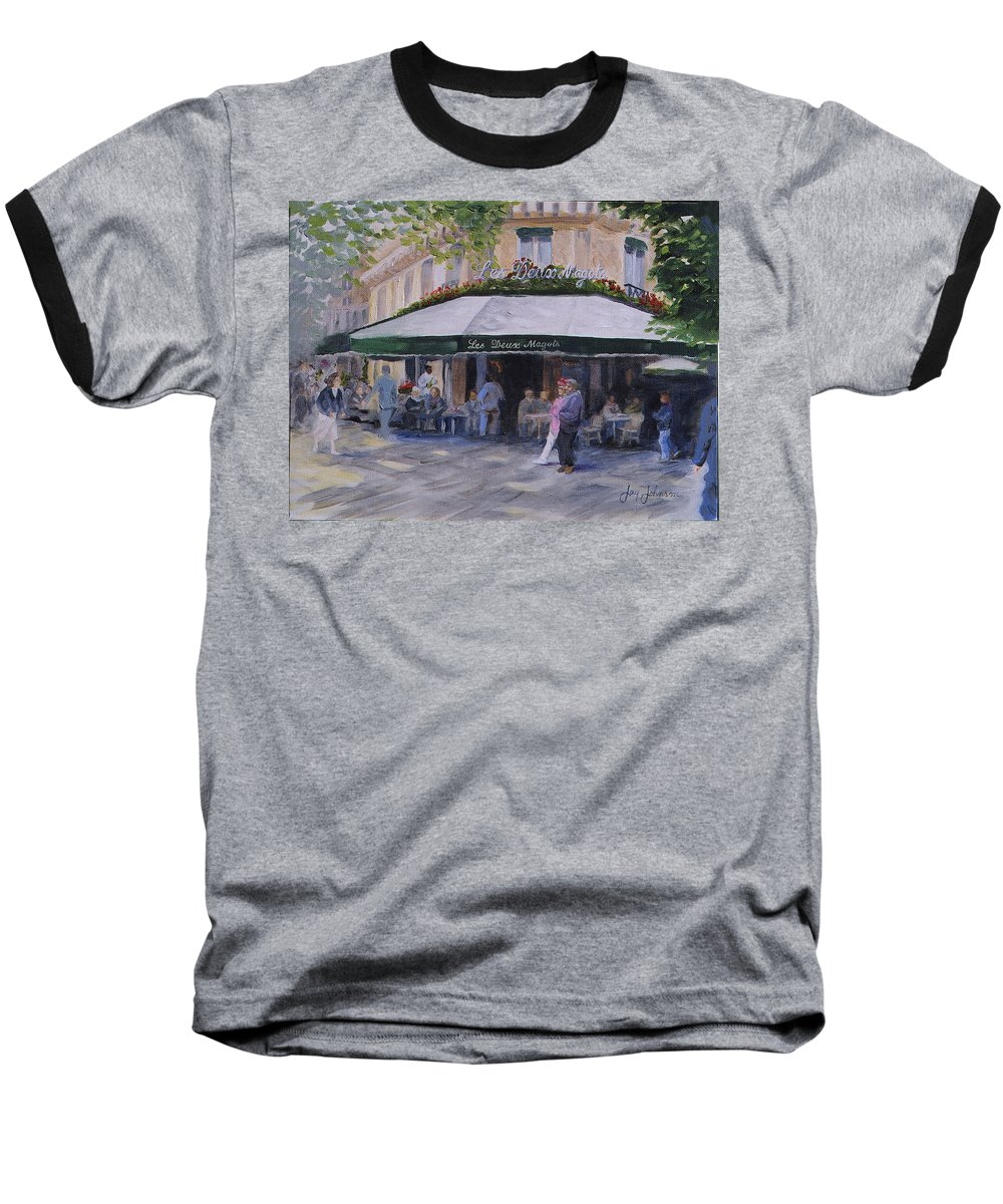 Cafe Magots Baseball T-Shirt featuring the painting Cafe Magots by Jay Johnson