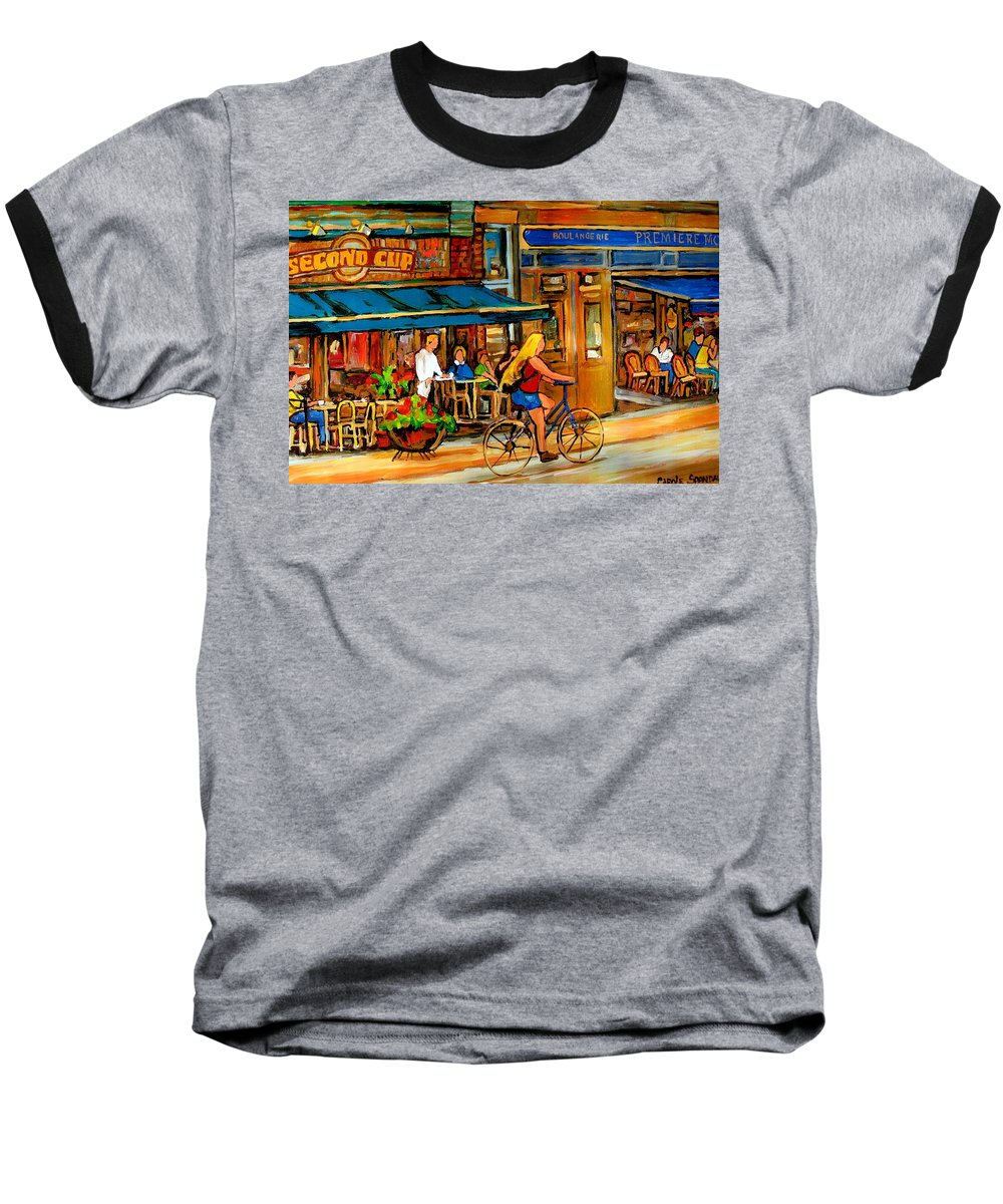 Cafes Baseball T-Shirt featuring the painting Cafes With Blue Awnings by Carole Spandau