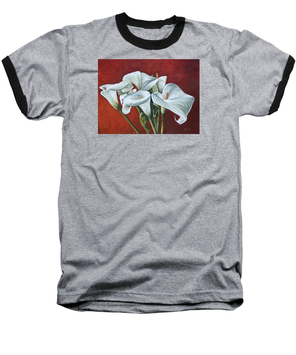Calas Baseball T-Shirt featuring the painting Calas by Natalia Tejera