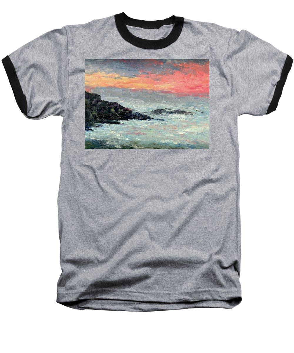 Seascape Baseball T-Shirt featuring the painting California Coast by Gail Kirtz