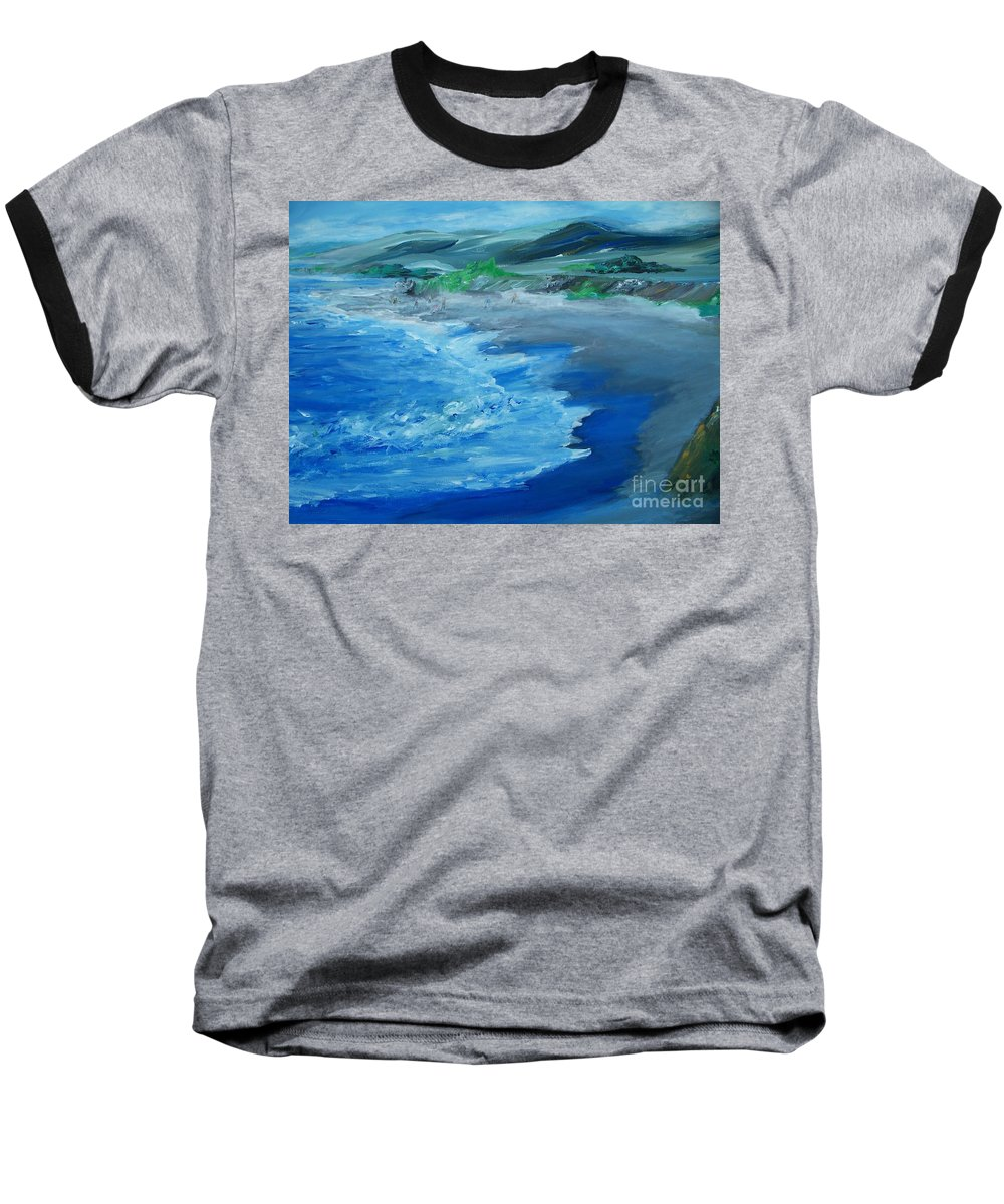 California Coast Baseball T-Shirt featuring the painting California Coastline Impressionism by Eric Schiabor