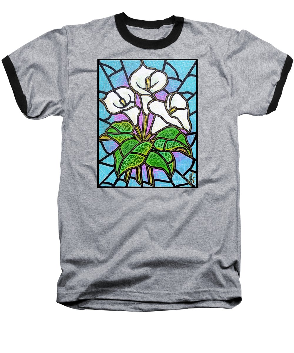 Flowers Baseball T-Shirt featuring the painting Calla Lilies 3 by Jim Harris