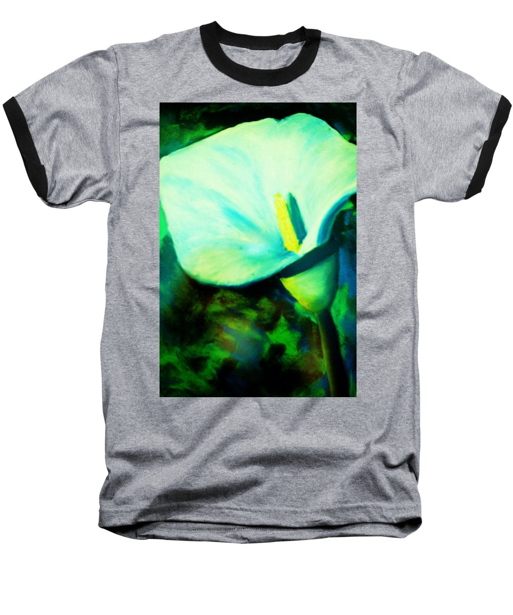 White Calla Lily Baseball T-Shirt featuring the painting Calla Lily by Melinda Etzold