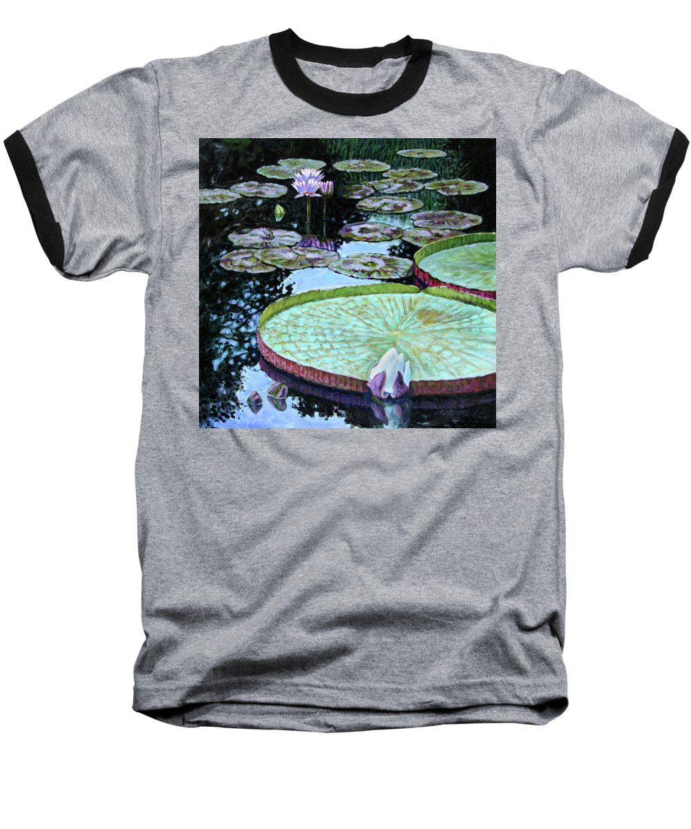 Water Lilies Baseball T-Shirt featuring the painting Calm Reflections by John Lautermilch