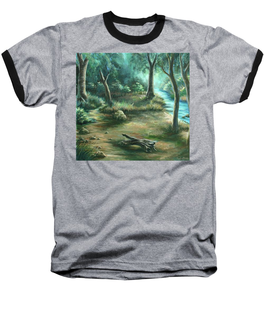 Landscape Baseball T-Shirt featuring the painting Camping At Figueroa Mountains by Jennifer McDuffie
