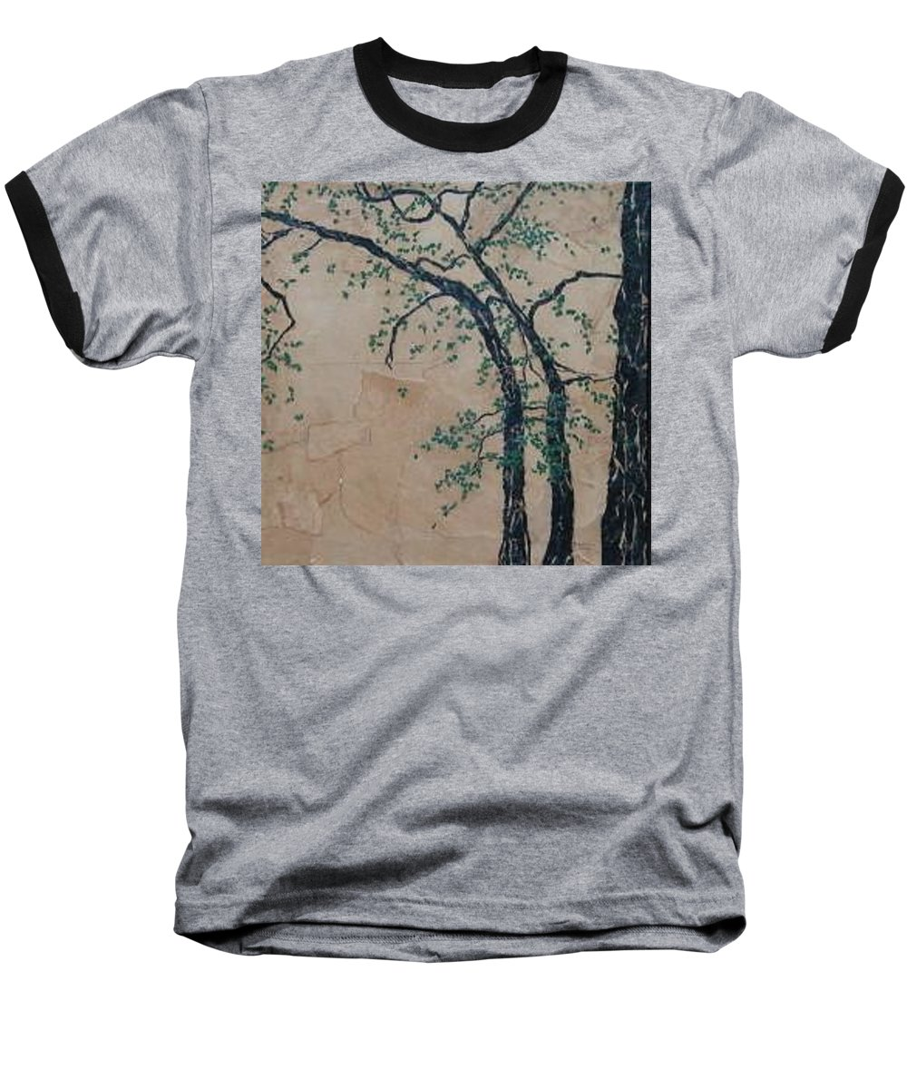 Leafy Tree Baseball T-Shirt featuring the painting Canandaigua Lake by Leah Tomaino