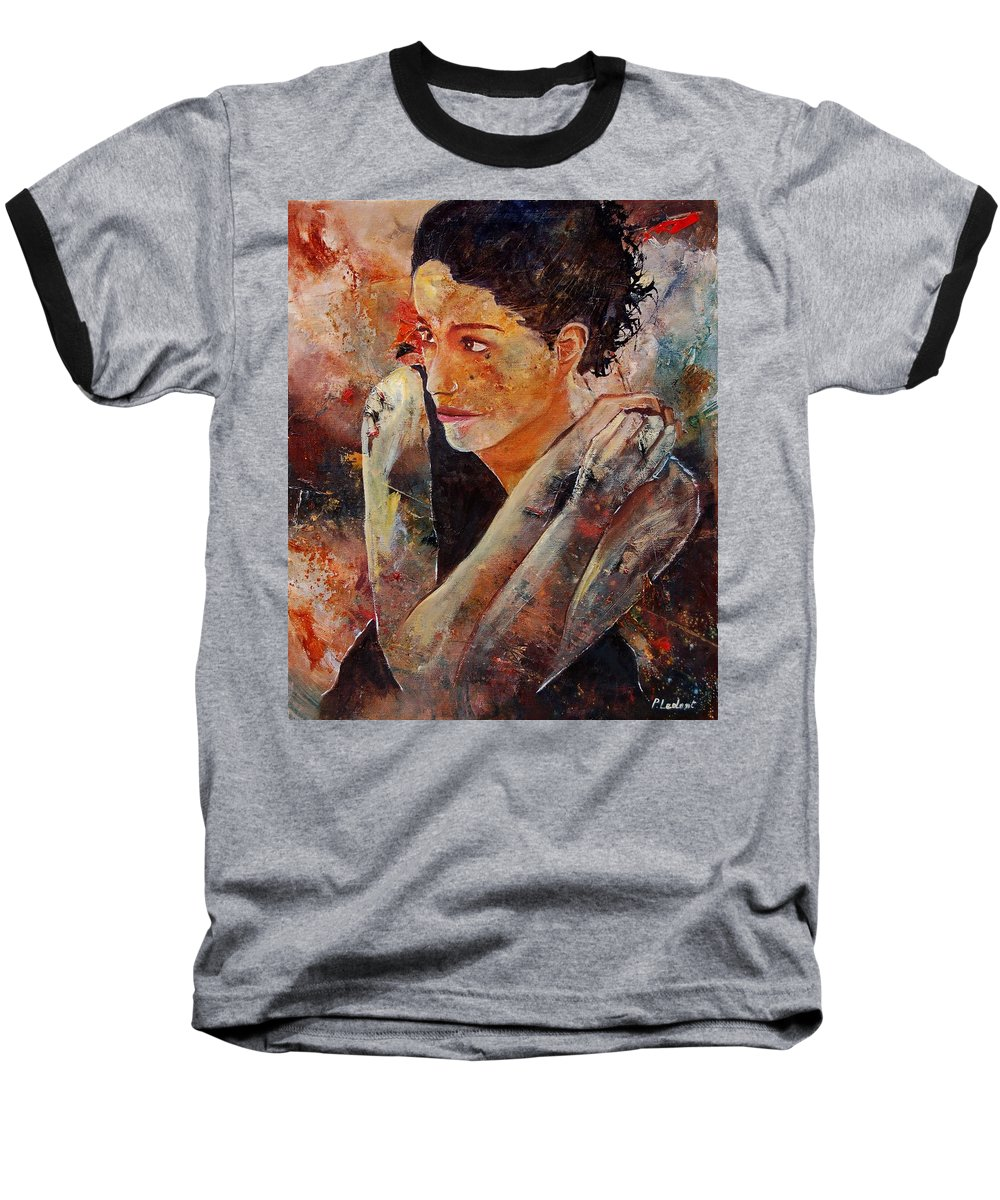 Figurative Baseball T-Shirt featuring the painting Candid Eyes by Pol Ledent