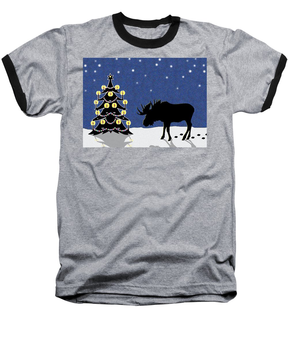 Moose Baseball T-Shirt featuring the digital art Candlelit Christmas Tree And Moose In The Snow by Nancy Mueller
