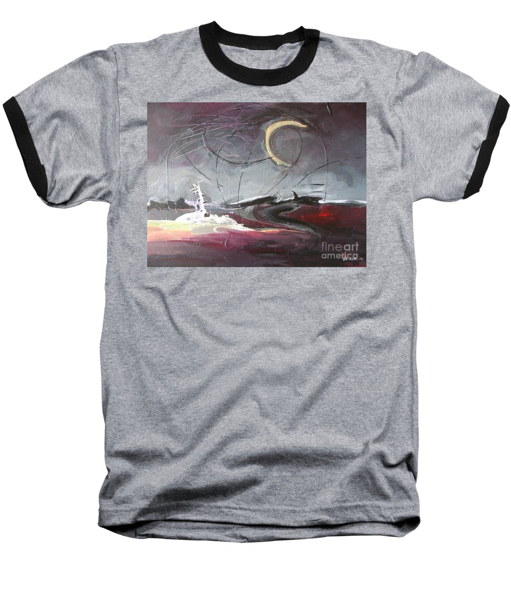 Abstract Paintings Baseball T-Shirt featuring the painting Cape St. Mary by Seon-Jeong Kim