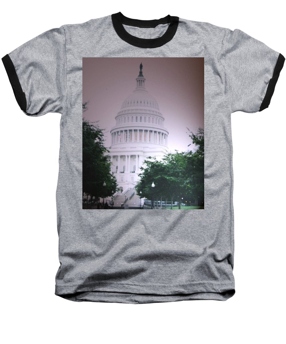 Capitol Baseball T-Shirt featuring the photograph Capitol In Pink by Pharris Art