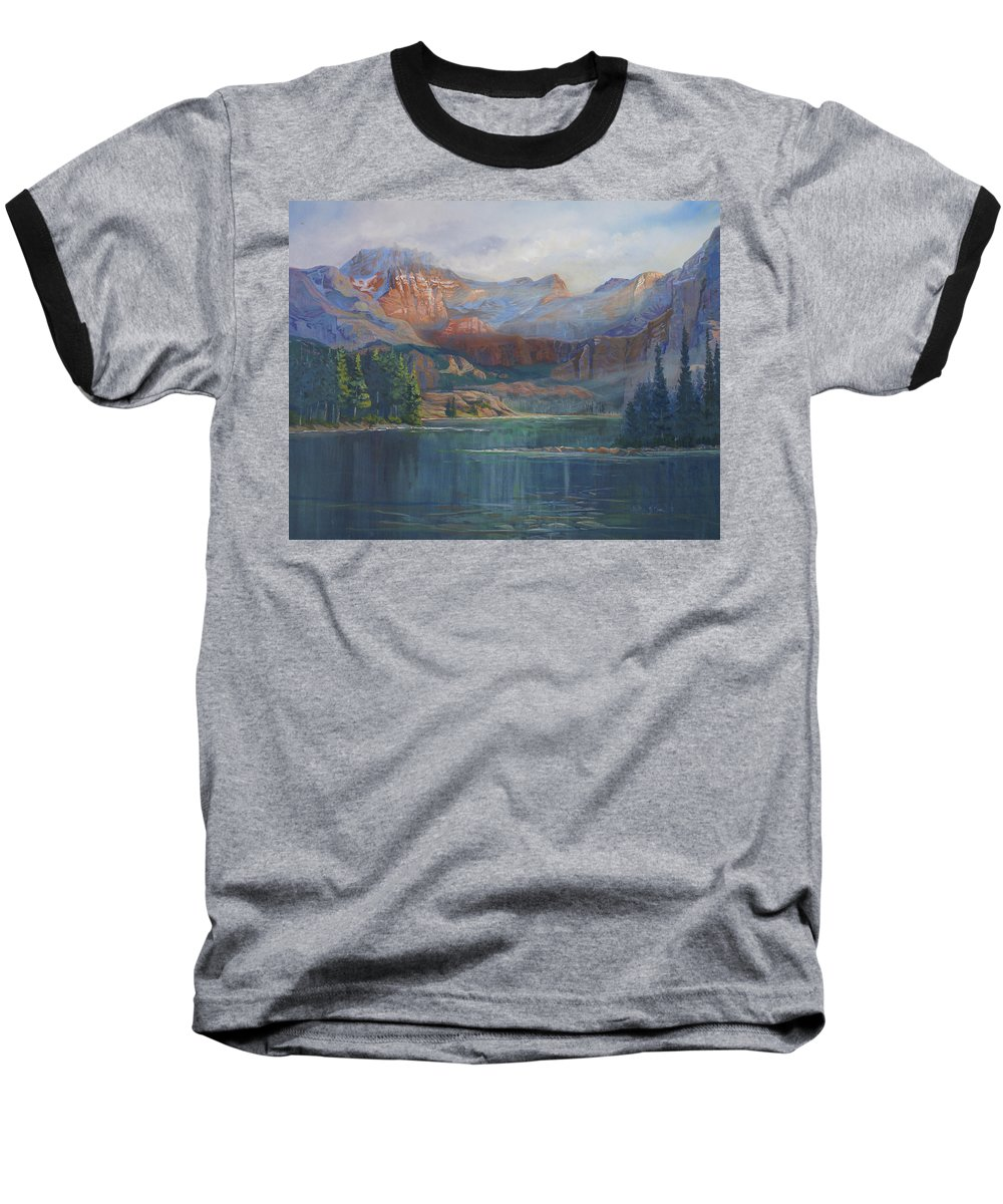 Capital Peak Baseball T-Shirt featuring the painting Capitol Peak Rocky Mountains by Heather Coen