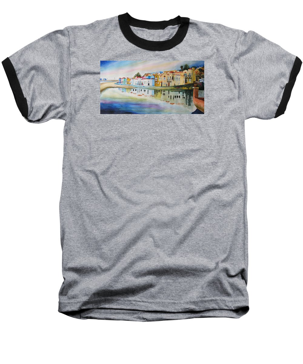 Capitola Baseball T-Shirt featuring the painting Capitola by Karen Stark