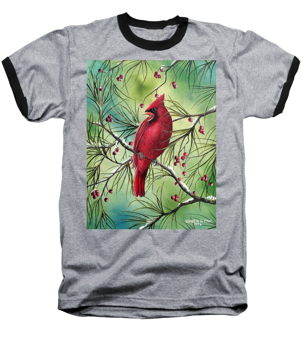 Cardinal Baseball T-Shirt featuring the painting Cardinal by David G Paul