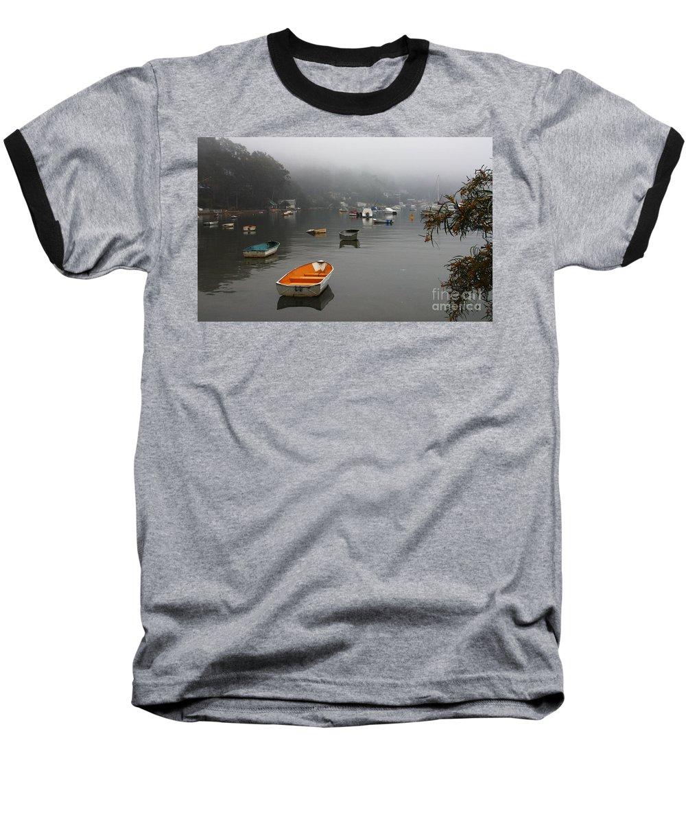 Mist Baseball T-Shirt featuring the photograph Careel Bay Mist by Sheila Smart Fine Art Photography