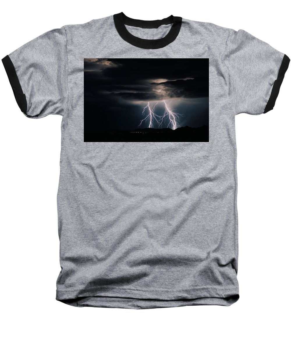 Arizona Baseball T-Shirt featuring the photograph Carefree Lightning by Cathy Franklin
