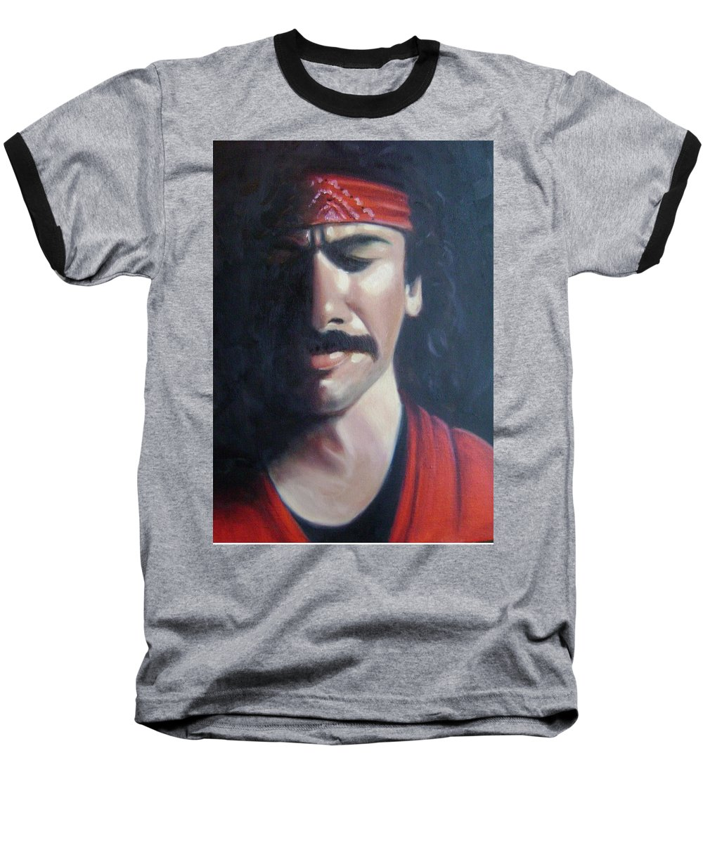 Santana Baseball T-Shirt featuring the painting Carlos Santana by Toni Berry